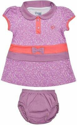 AGNUS Lavender Frock/Panties Half Sleeve Front Open Interlock GIRLS