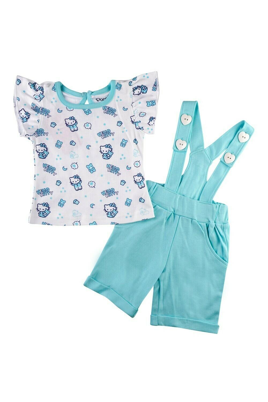 AMANDA Aqua Sky Frock/Shorts Half Sleeve Back Half Open Interlock GIRLS