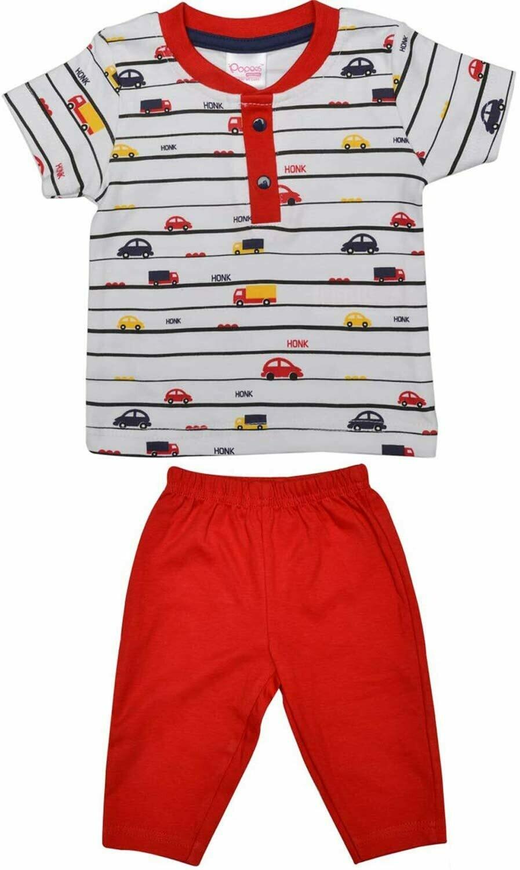 LEVINE Red Top/Trouser Full Sleeve Front Open Interlock BOYS
