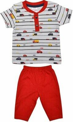 ADOLF Red Top/Trouser Full Sleeve Front Open Interlock BOYS