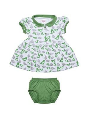 AMYA Green Frock/Panties Half Sleeve Front Open Interlock GIRLS