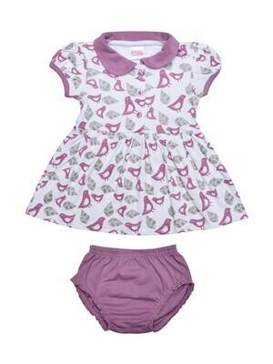 AMYA Lavender Frock/Panties Half Sleeve Front Open Interlock GIRLS