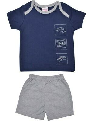 CHARUN Navy Blue Top/Trouser Round Neck Half Sleeve Interlock BOYS