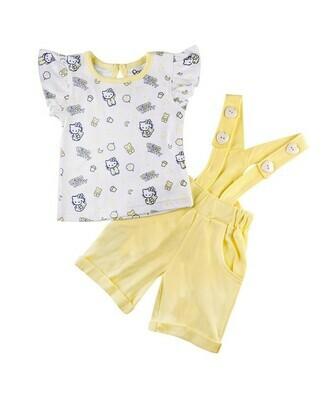 AMANDA Yellow Frock/Shorts Half Sleeve Back Half Open Interlock GIRLS