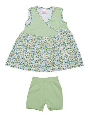 DONUT Pastel Green Frock/Panties Half Sleeve Round Neck Interlock GIRLS