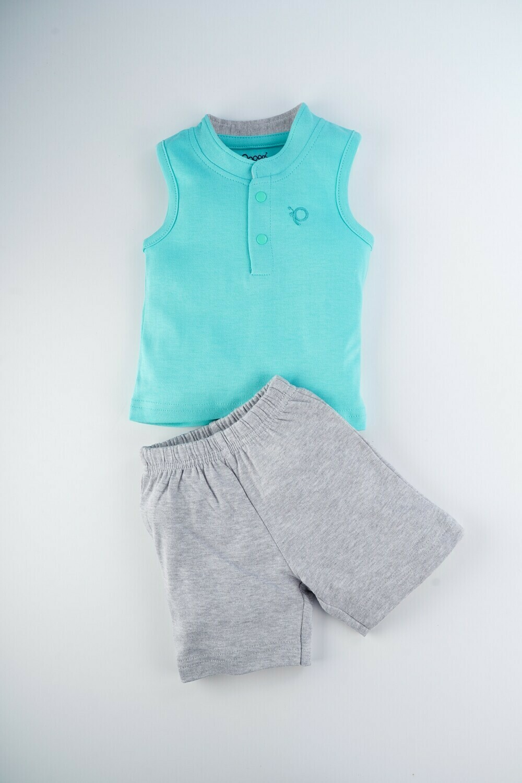 TOXO Dark Green Top/Trouser Full Sleeve Front Open Interlock Boys