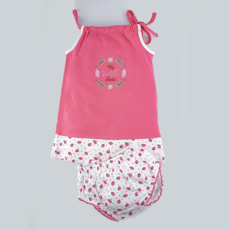 BLUME Azalea Pink Frock/Panties Sleeveless Shoulder Open Interlock GIRLS