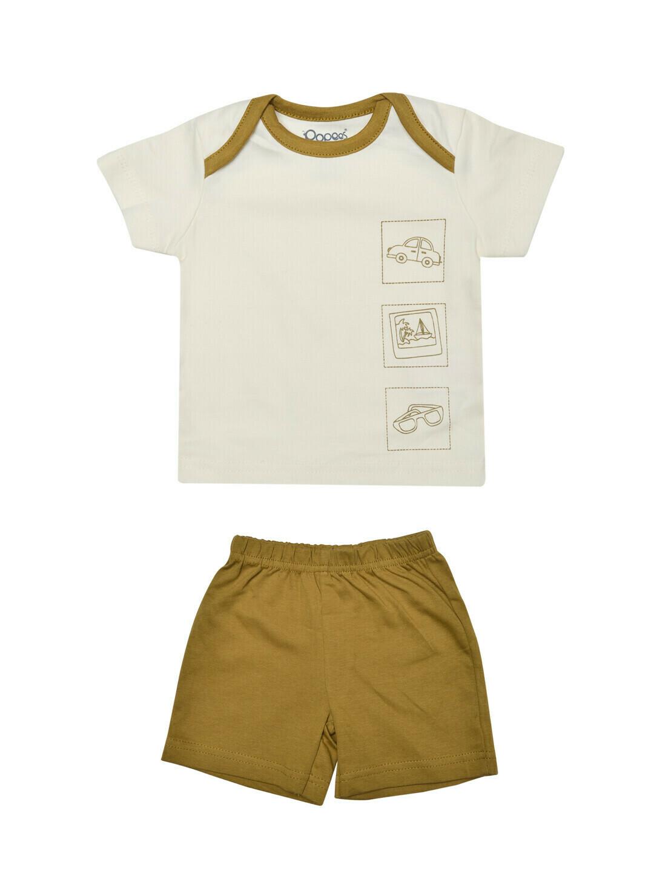 CHARUN Ivory Top/Trouser Round Neck Half Sleeve Interlock BOYS