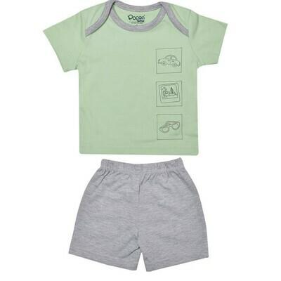 CHARUN Pastel Green Top/Trouser Round Neck Half Sleeve Interlock BOYS
