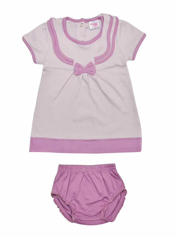 LIMORA Lavender Frock/Panties Half Sleeve Back Half Open Interlock GIRLS