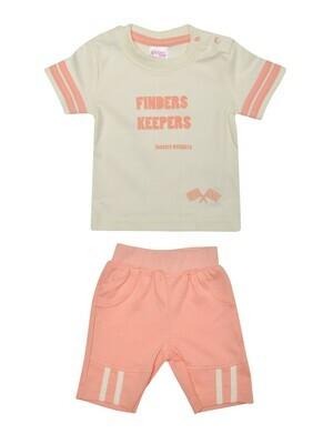 COPS Peach Blush Top/Trouser Half Sleeve Shoulder Open Interlock BOYS