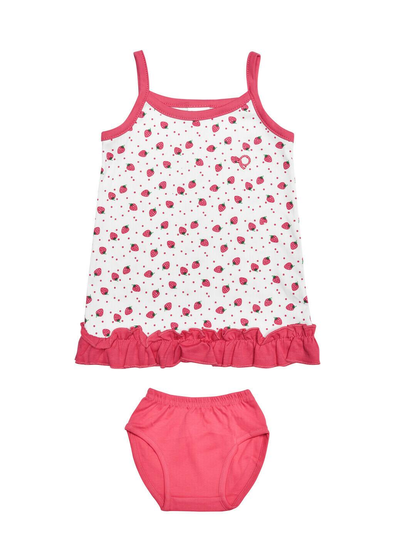 LOVEL Fushsia Frock/Panties Sleeveless Shoulder Open Interlock GIRLS