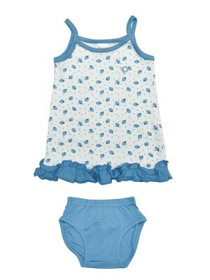 LOVEL Dark Blue Frock/Panties Sleeveless Shoulder Open Interlock GIRLS
