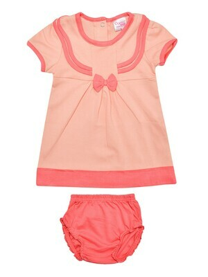 LIMORA Peach Blush Frock/Panties Half Sleeve Back Half Open Interlock GIRLS