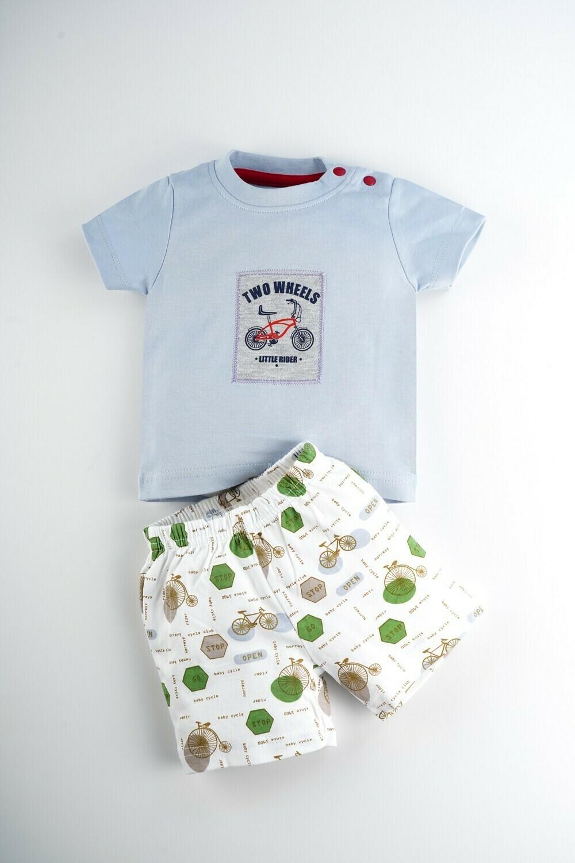 SANZ Kent Blue Top/Shorts Half Sleeve Shoulder Open Interlock BOYS