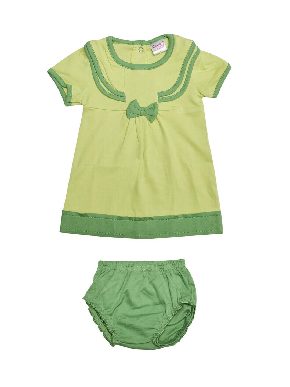 LIMORA Shadow Lime Frock/Panties Half Sleeve Back Half Open Interlock GIRLS
