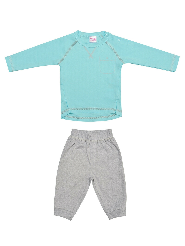 FIVES Blue Top/Pant Full Sleeve Shoulder Open Interlock BOYS for Autumn & Winter