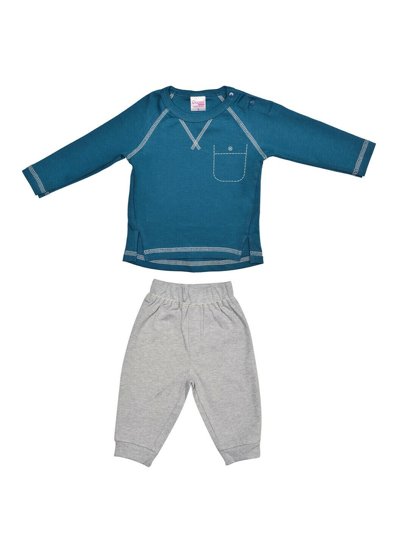 FIVES Celestial Blue Top/Pant Full Sleeve Shoulder Open Interlock BOYS for Autumn & Winter