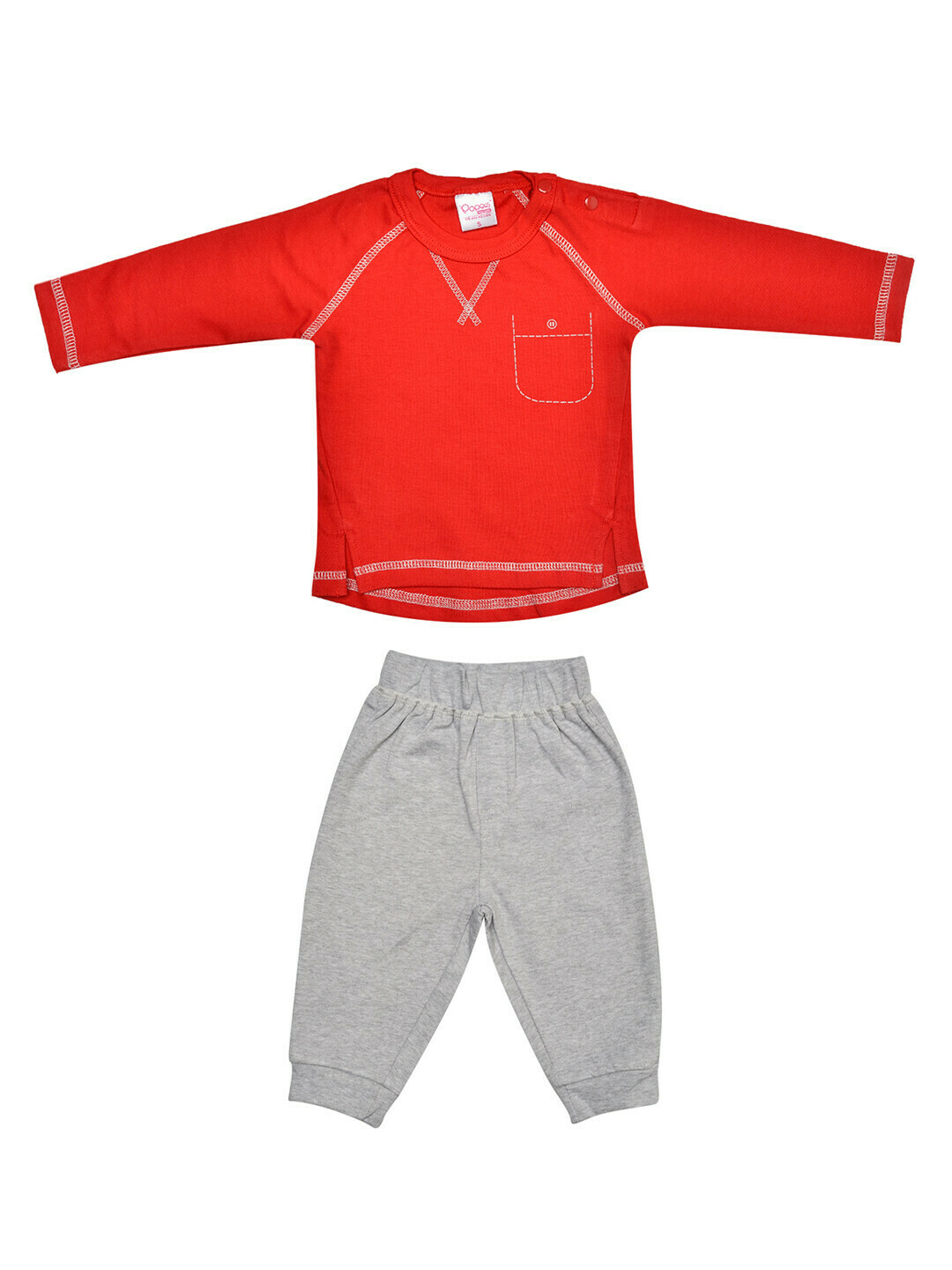 FIVES Red Top/Pant Full Sleeve Shoulder Open Interlock BOYS for Autumn & Winter