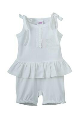 VIVA W White Top & Bottom Frock/Bloomer Half Sleeve Shoulder Open Interlock Girls