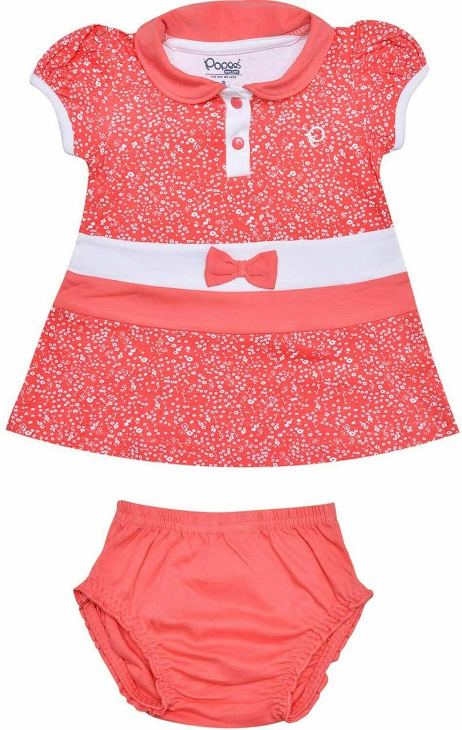 Agnus Coral Half Sleeve Front Open Frock with Bloomer for Girls