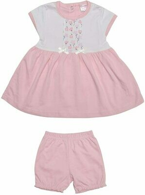 Avery Pink Half Sleeve Floral Design Frock with Bloomer for Girls