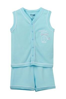 EIDER BLUE Top & Trouser Sleeveless Front Open Cotton Interlock for Baby BOYS during Summer