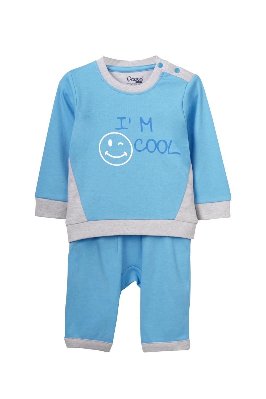 ZANE Dark Blue Top & Pants Full Sleeve Shoulder Open Cotton Interlock  for Baby BOYS during Autumn-Winter