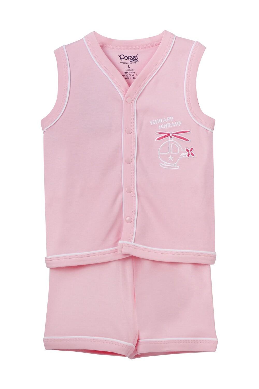EIDER Rose Top & Trouser Sleeveless Front Open Cotton Interlock for Baby BOYS during Summer