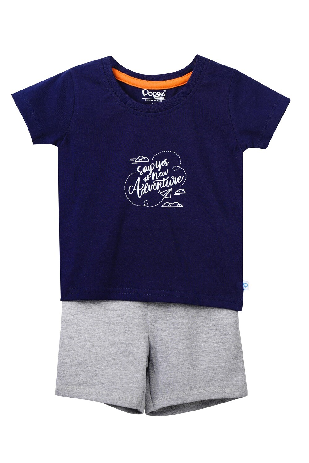 LOGER PEACOTNAVY Top & Shorts Half Sleeve Front Open Cotton Interlock Single Jersey for Baby BOYS during Spring-Summer
