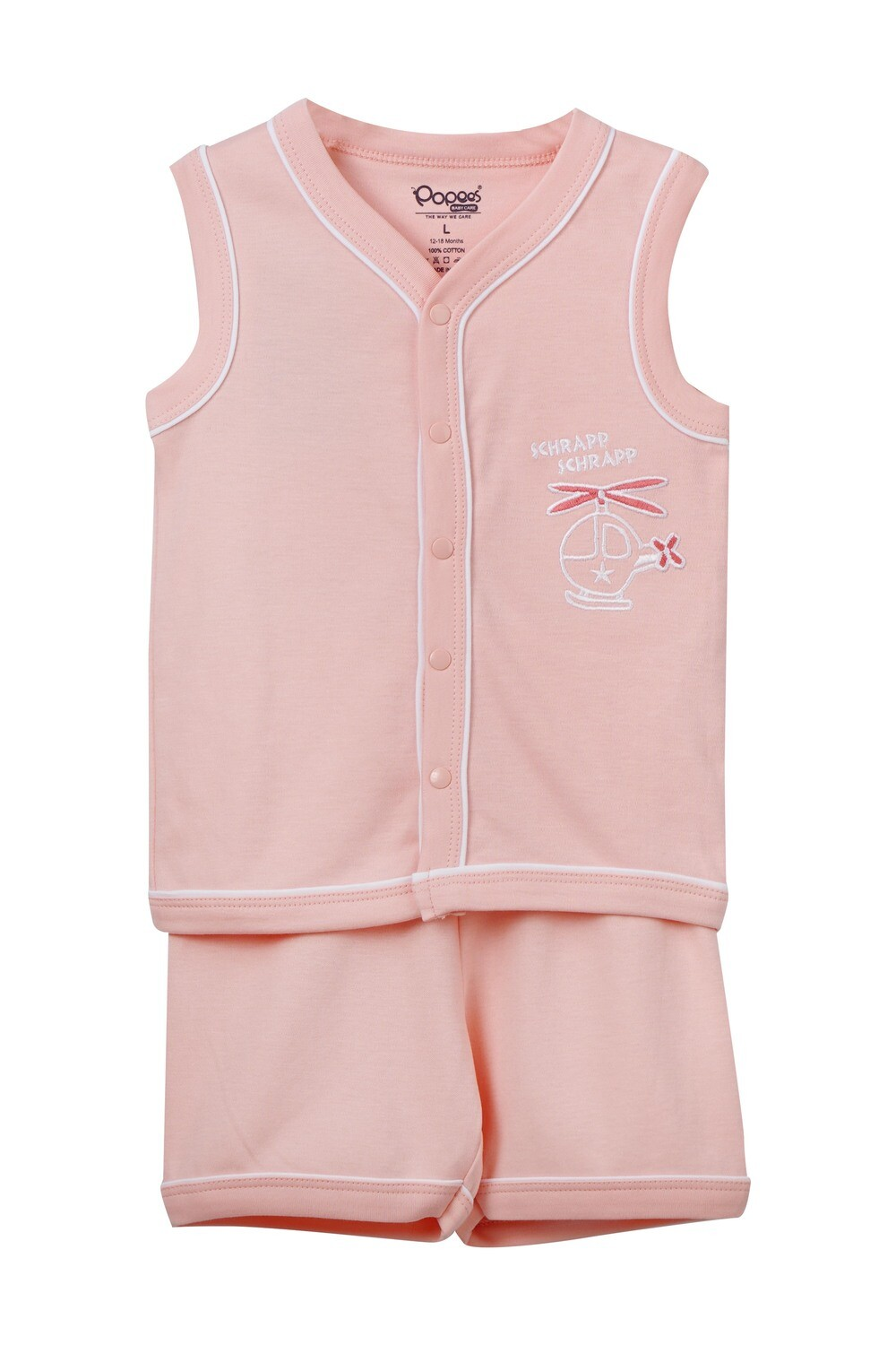 EIDER Pink Top & Trouser Sleeveless Front Open Cotton Interlock for Baby BOYS during Summer