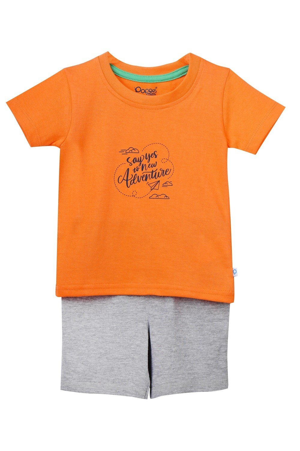 LOGER NECTARINE Top & Shorts Half Sleeve Front Open Cotton Interlock Single Jersey for Baby BOYS during Spring-Summer
