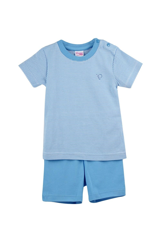 DICUR Sky Blue Top/Shorts Half Sleeve Shoulder Open Interlock for Baby BOYS