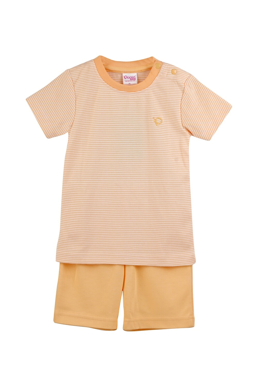 DICUR Yellow Top/Shorts Half Sleeve Shoulder Open Interlock for Baby BOYS