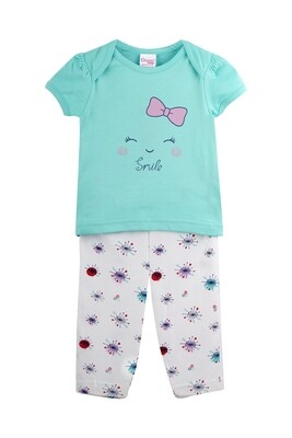 SERANO Green Top/Trouser Half Sleeve Interlock for Baby GIRLS