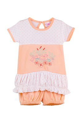 BALLOON Apricot Ice Top and Trouser Half Sleeve Back Half Open Cotton GIRLS