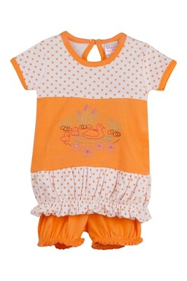 BALLOON Orange Half sleeve Top and Trouser for Baby Girls