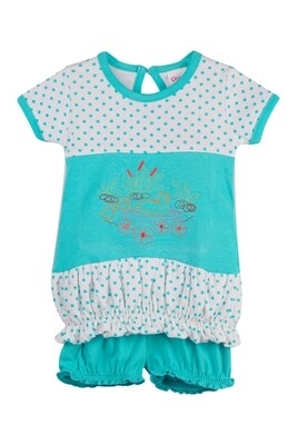 BALLOON Green Half sleeve Top and Trouser for Baby Girls