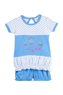BALLOON Dark Blue Half sleeve Top and Trouser for Baby Girls