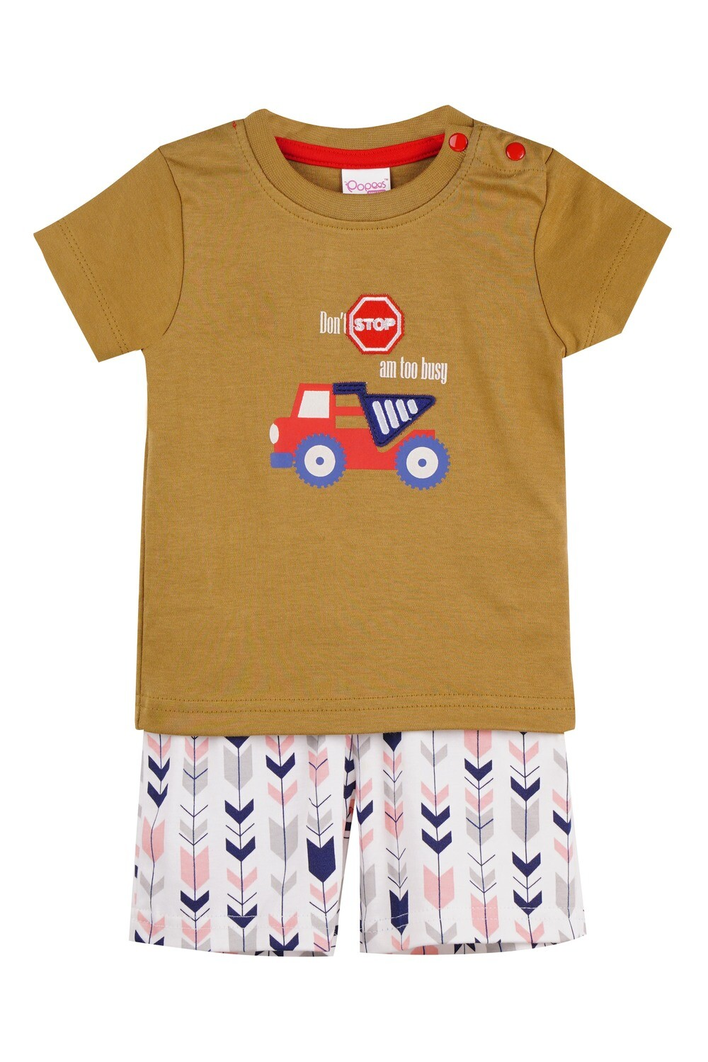 WARREN Dull Gold Top and Trouser Half Sleeves for Baby Boys