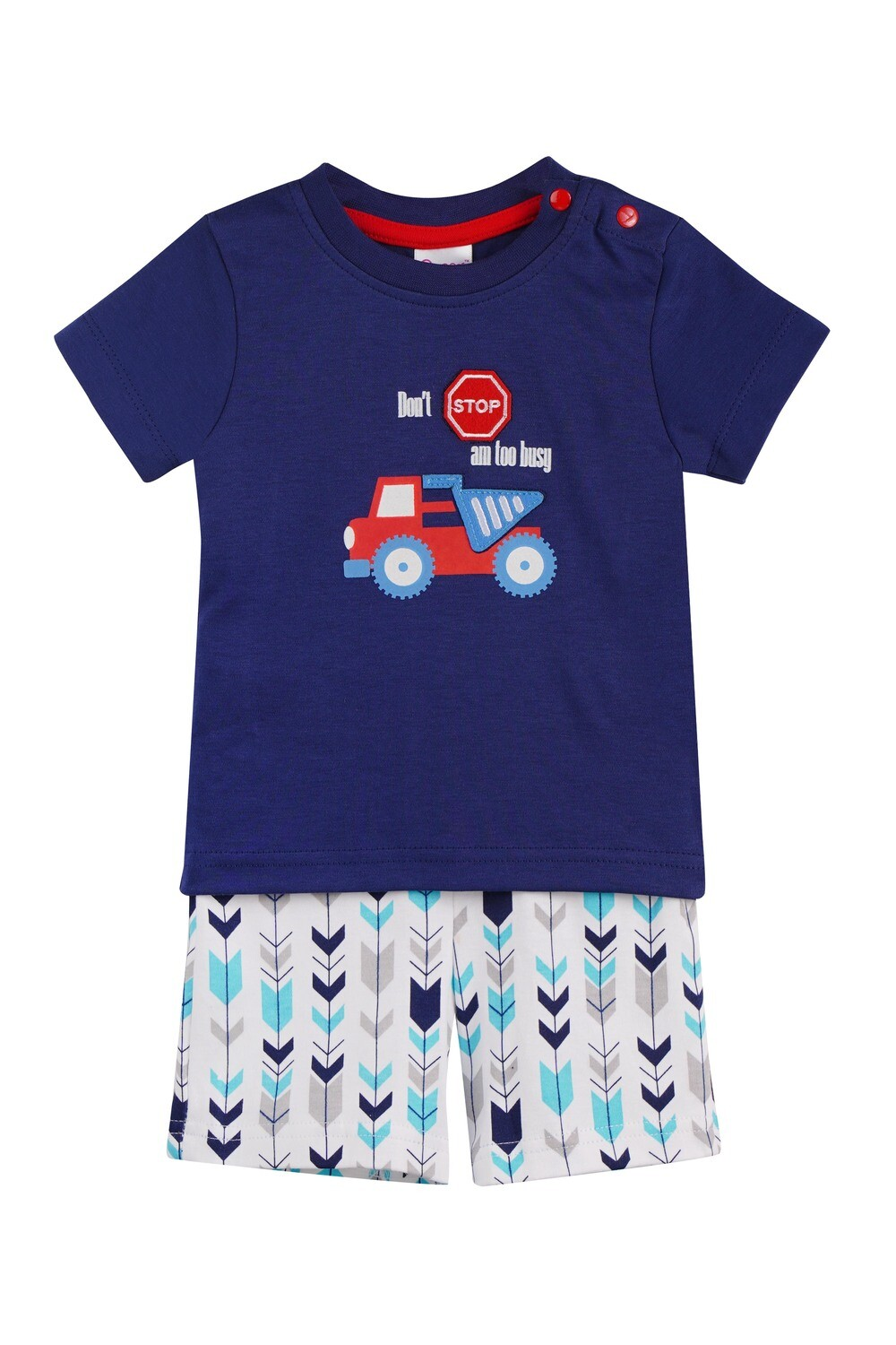 WARREN Navy Blue Top and Trouser Half Sleeves for Baby Boys