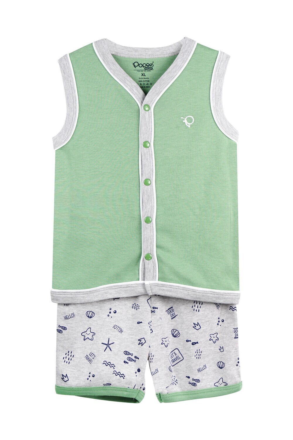 WELCH Green Eyes Top and Shorts Sleeveless for Baby Boys