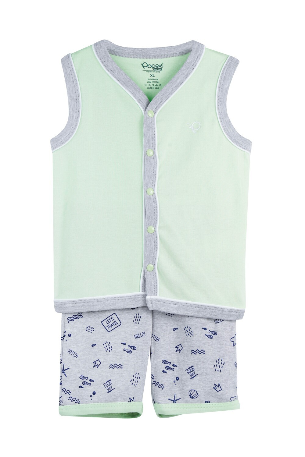 WELCH Paradise Green Top and Shorts Sleeveless for Baby Boys