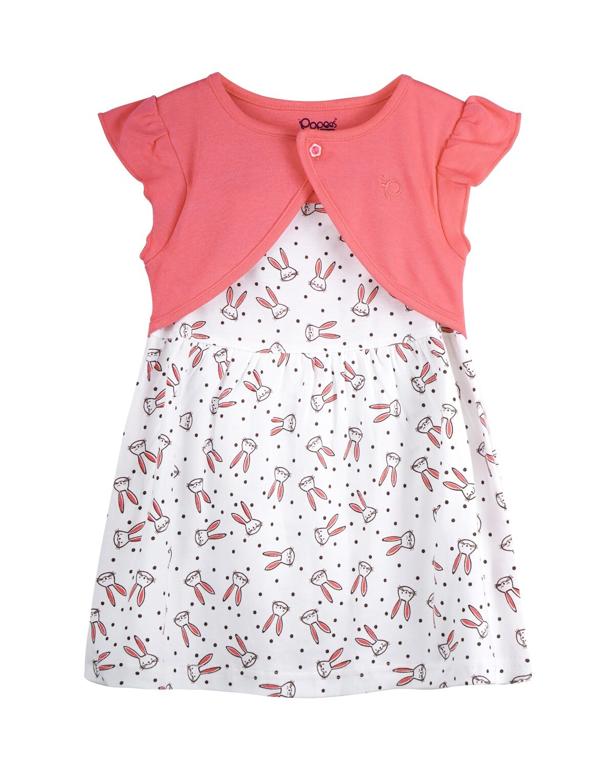 NIFFY Coral Interlock Frock and Panties for Baby Girls