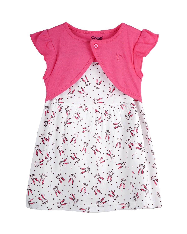 NIFFY Fuchsia Interlock Frock and Panties for Baby Girls