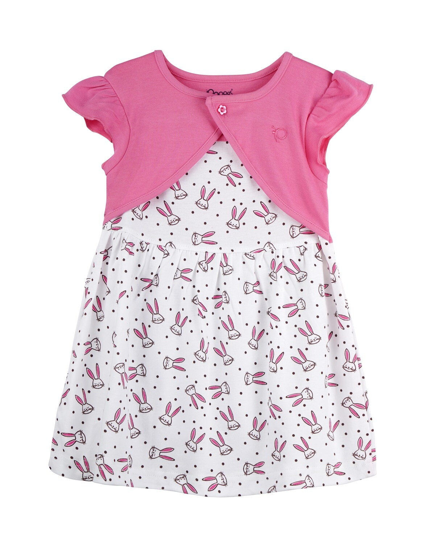 NIFFY Azalea Pink Interlock Frock and Panties for Baby Girls