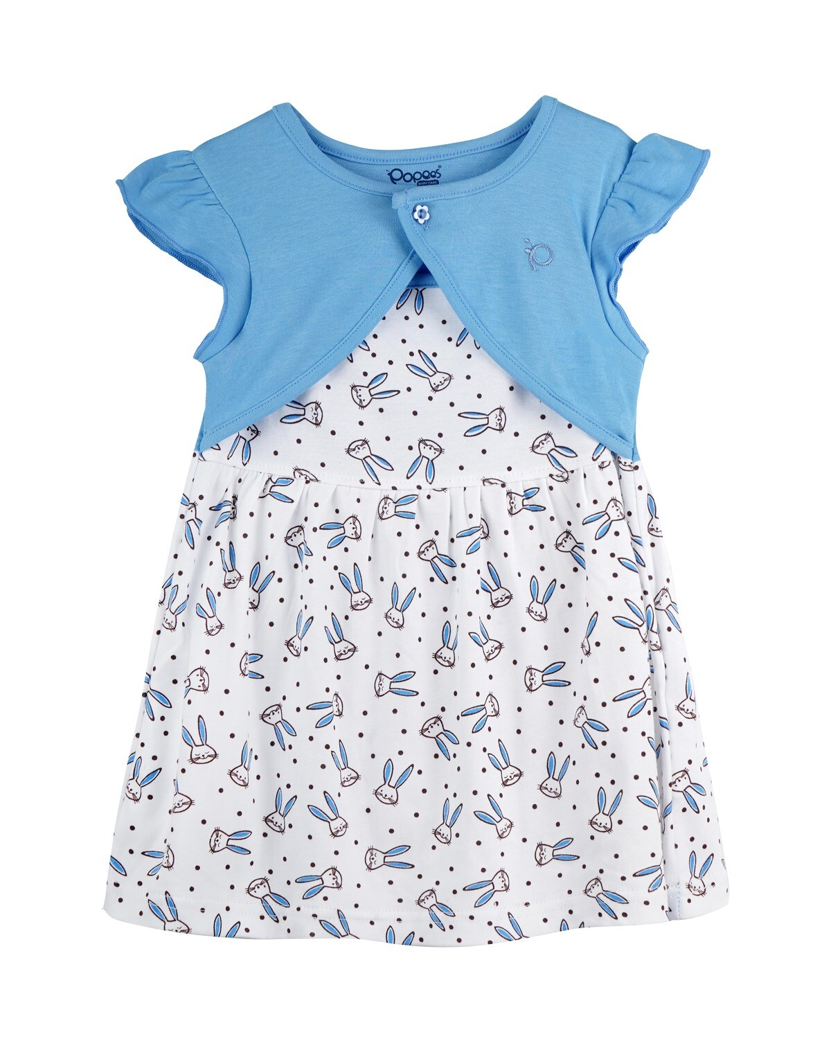 NIFFY Dark Blue Interlock Frock and Panties for Baby Girls