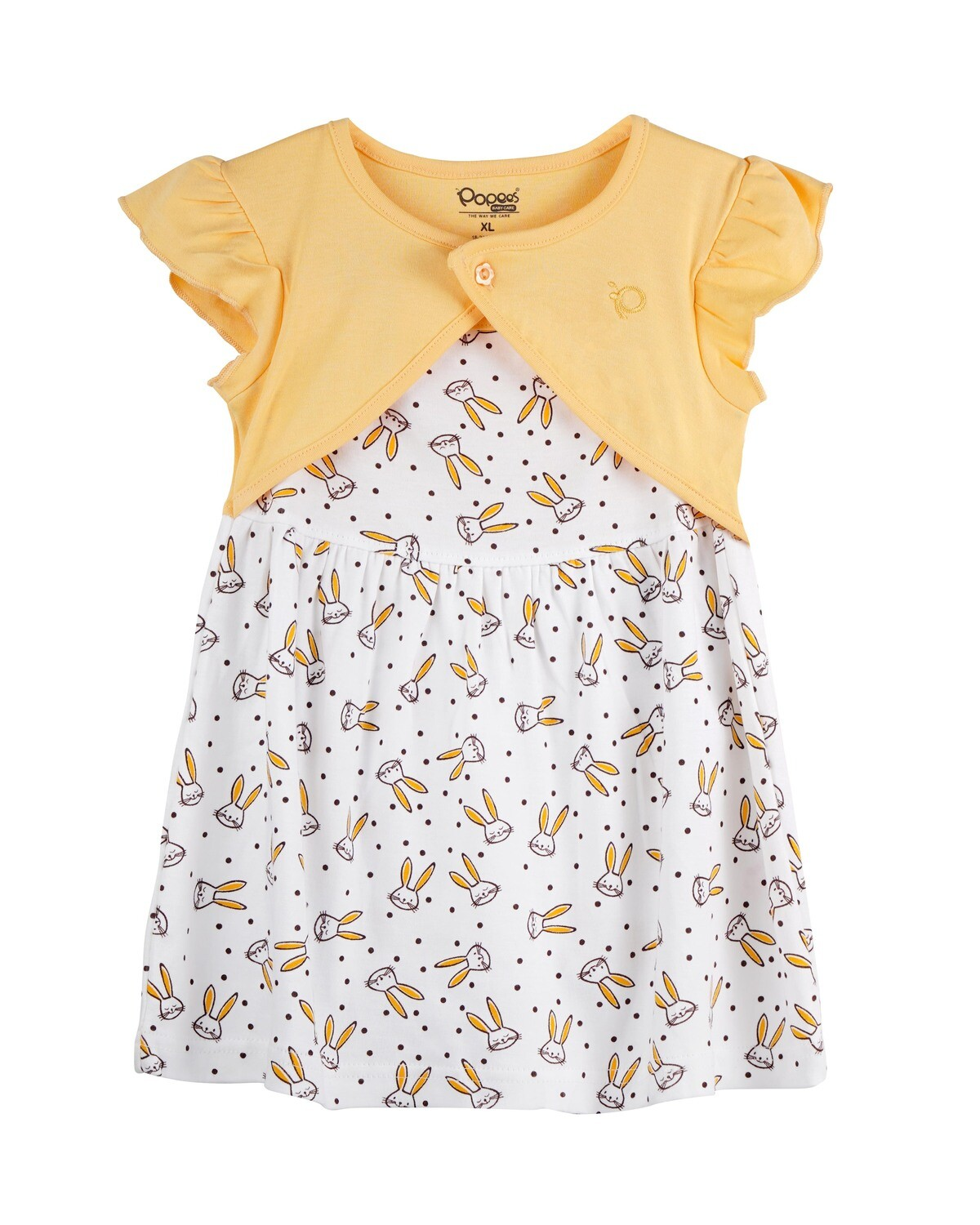 NIFFY Yellow Interlock Frock and Panties for Baby Girls