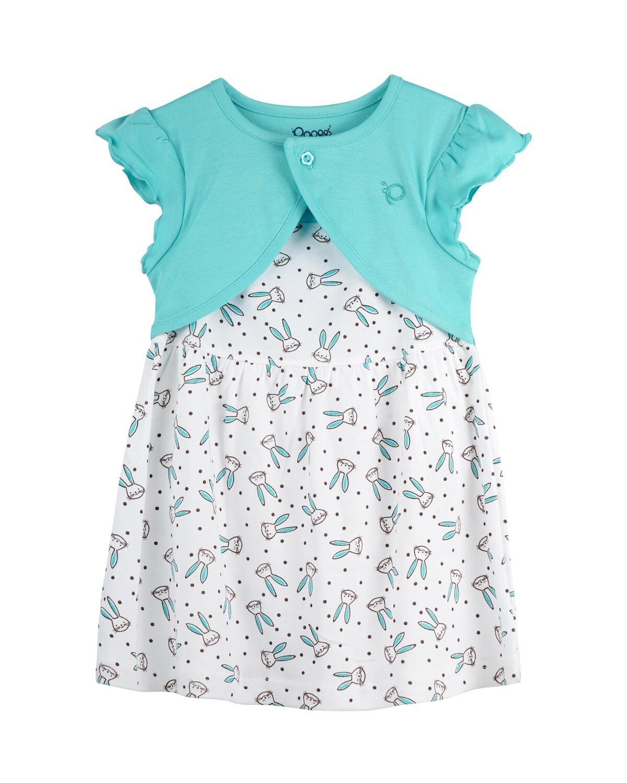 NIFFY Dark Green Interlock Frock and Panties for Baby Girls