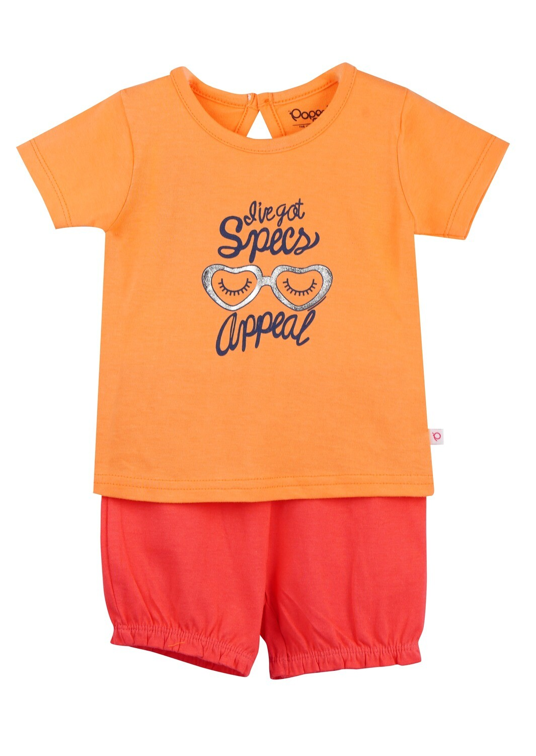 LEVINE Cantaloupe Half sleeve Top and Shorts for Baby Girls